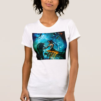 Funny dolphin playing with cute mermaid tee shirt