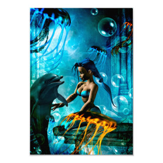 Funny dolphin playing with mermaid card