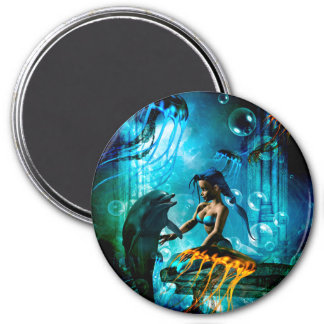 Funny dolphin playing with mermaid magnet