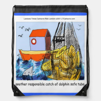 Funny Dolphin-Safe Tuba Drawstring Backpack