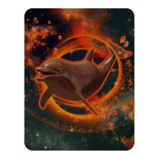 Funny dolphin swimming in the universe 4.25x5.5 paper invitation card