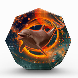 Funny dolphin swimming in the universe award