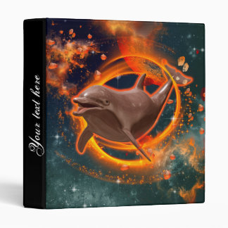Funny dolphin swimming in the universe binder