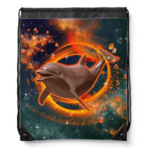 Funny dolphin swimming in the universe drawstring backpack