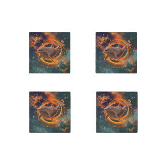 Funny dolphin swimming in the universe stone magnet