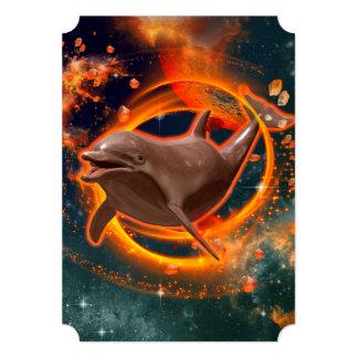 Funny dolphin swimming in the universe 5x7 paper invitation card