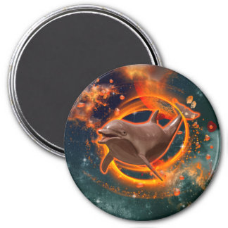 Funny dolphin swimming in the universe 3 inch round magnet