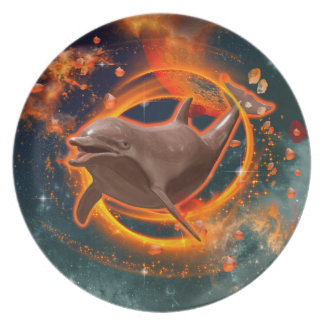 Funny dolphin swimming in the universe plate