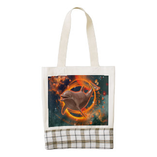 Funny dolphin swimming in the universe zazzle HEART tote bag