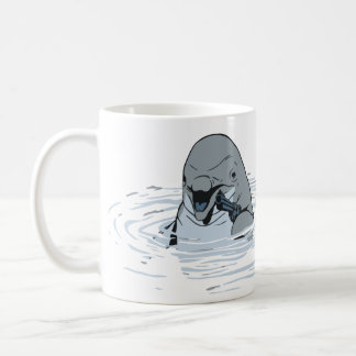 Funny Dolphin With a Gun Cartoon Coffee Mug