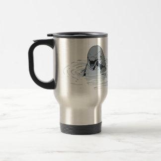 Funny Dolphin With a Gun Cartoon Travel Mug