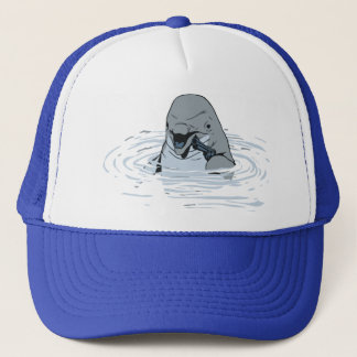 Funny Dolphin With a Gun Cartoon Trucker Hat