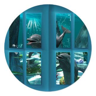 "Funny dolphins 5.25"" square invitation card"