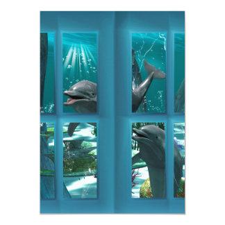 "Funny dolphins 5"" x 7"" invitation card"
