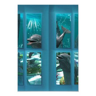"Funny dolphins 3.5"" x 5"" invitation card"