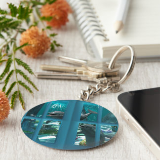 Funny dolphins basic round button keychain