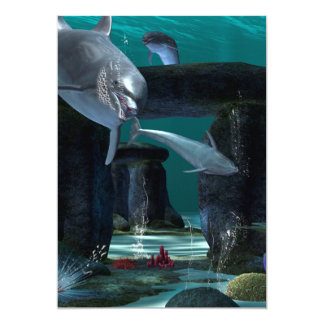 """Funny dolphins playing 5"""" x 7"""" invitation card"""