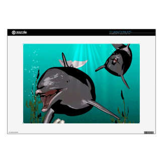 Funny dolphins laptop decals