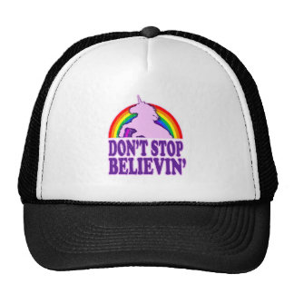 Funny Don t Stop Believin Unicorn Mesh Hats