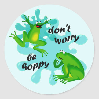 Funny Don't Worry Be Hoppy Frog Sticker