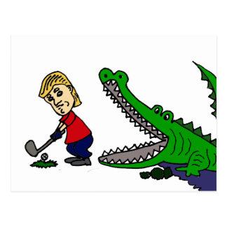 Funny Donald Trump Golfing Cartoon Postcard