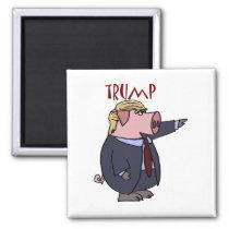 Funny Donald Trump Pig Political Cartoon Magnet