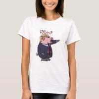 Funny Donald Trump Pig Political Cartoon T-Shirt