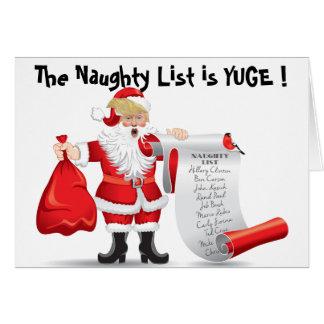Funny Donald Trump Santa With Naughty List Card