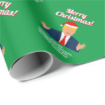 """Funny Donald Trump with Santa Claus hat Christmas Wrapping Paper<br><div class=""""desc"""">Funny Donald Trump with Santa Claus hat Christmas wrapping paper rolls. Add your own personalized message, Trumpian quote or seasons greeting like Merry Christmas. Fun Holiday gift wrap for men, women and kids. Humorous xmas cartoon caricature of the president. Red and green colors with cute typography template. Create unique hilarious...</div>"""