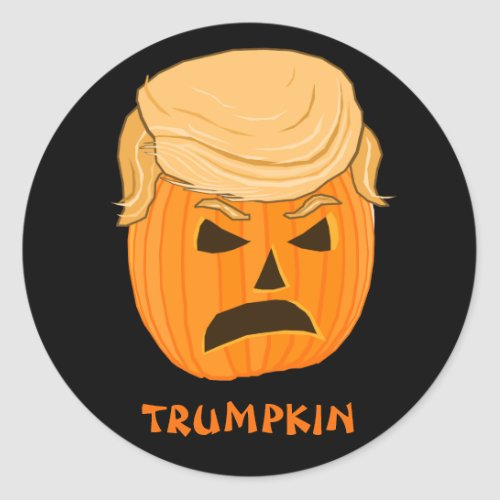 Funny Donald Trumpkin Pumpkin Jack_o_lantern Classic Round Sticker
