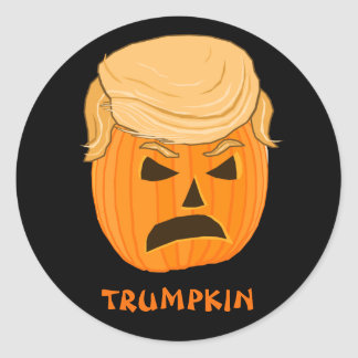 Funny Donald Trumpkin Pumpkin Jack-o-lantern Classic Round Sticker