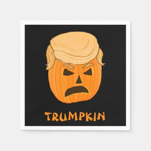 Funny Donald Trumpkin Pumpkin Jack_o_lantern Paper Napkin