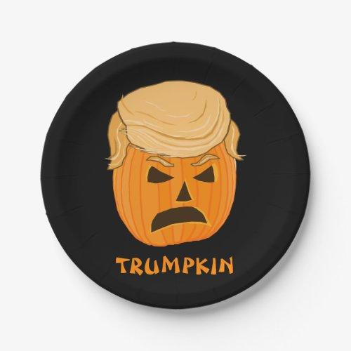 Funny Donald Trumpkin Pumpkin Jack_o_lantern Paper Plate