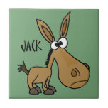 Funny Donkey named Jack Small Square Tile
