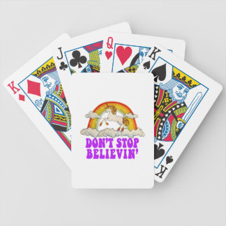 Funny Don't Stop Believin' in Unicorns Bicycle Playing Cards