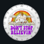 """Funny Don&#39;t Stop Believin&#39; in Unicorns Dartboard With Darts<br><div class=""""desc"""">Unicorns and rainbows. Don't stop believing!</div>"""