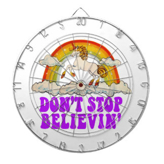 Funny Don't Stop Believin' in Unicorns Dartboard With Darts