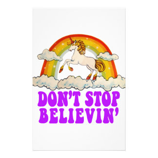 Funny Don't Stop Believin' in Unicorns Stationery