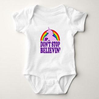 Funny Don't Stop Believin' Unicorn Baby Bodysuit