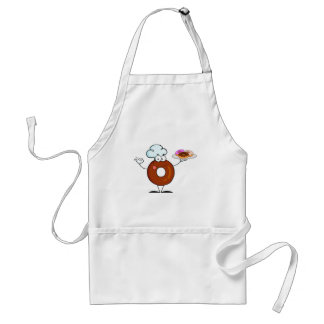 funny donut donut chef cartoon character adult apron