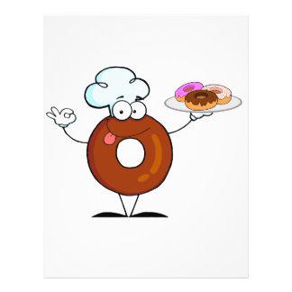 funny donut donut chef cartoon character flyer