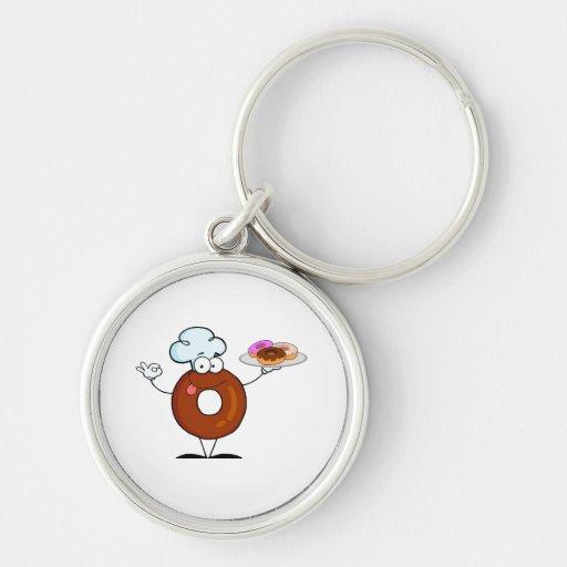 funny donut donut chef cartoon character Silver-Colored round keychain