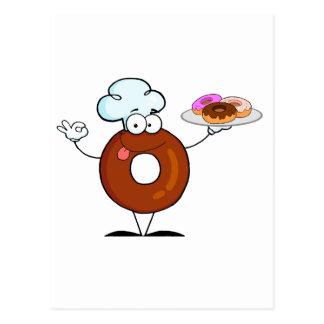 funny donut donut chef cartoon character postcard