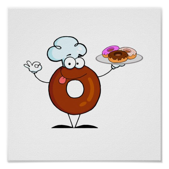 funny donut donut chef cartoon character poster