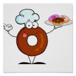 funny donut donut chef cartoon character print