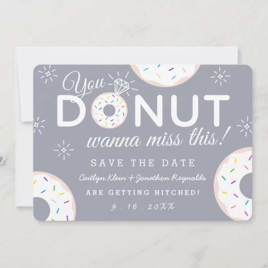 Wedding Save The Dates.Funny Donut Themed Wedding Save The Dates Save The Date
