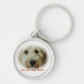 Funny Doodle Dog Car Ride Silver-Colored Round Keychain