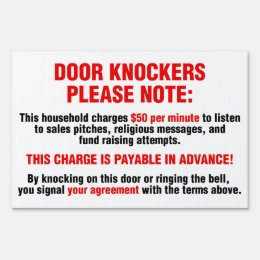Funny Door Knockers $50 Per Minute For Soliciting Sign