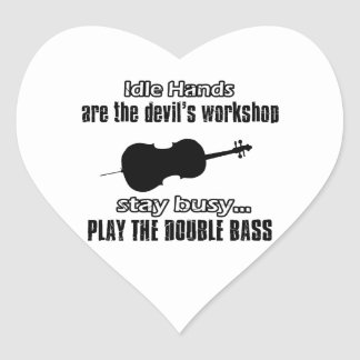 Funny double bass designs heart sticker