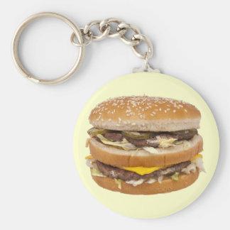 Funny Double Cheese Hamburger Beef Fast Food Keychain